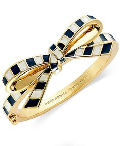 kate spade new york Gold-Tone Striped Bow Bangle Bracelet - Arm Candy - Jewelry & Watches - Macy's