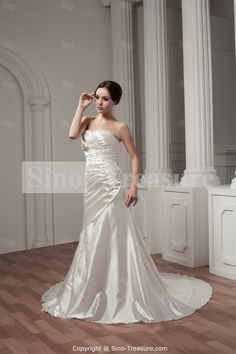 White Appliques A-Line Brush/ Sweep Train Sweetheart Wedding Dress -Wedding & Events-Wedding Dresses-Sweetheart Wedding Dresses