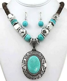 Geometric Design Necklace Set/Vintage Turquoise Necklace Set Combo- 2 for 1