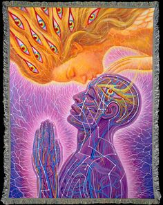 Alex Grey visionary Art woven into beautiful Art Blankets. Cozy and conscious. Made in the USA - 60% Recycled. Great for yoga,meditation,Burning Man,festivals