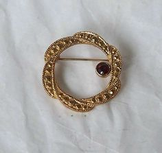 Vintage Circle Brooch / Pin with Ruby Stone by MargsMostlyVintage, $12.00