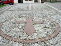 Maltese Cross at the 12th century Templar church in Ormelle, Italy that was part of the Knights of the Templer & Children's Crusades in Treviso Province, Italy
