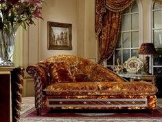 Walnut Burl Gold Chaise Lounge | eBay