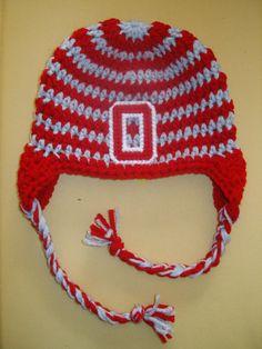 Crocheted Ohio State Buckeye Beanie Hat All by crochetblessings, $15.00