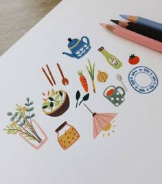a part of illustration that I'm working on now :) Food and object illustration Art Et Illustration, Illustrations And Posters, Inspiration Art, Art Inspo, Caran D'ache, Guache, Poster S, Art Design, Oeuvre D'art