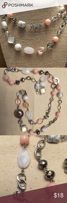 Loft Silver Tone Glass Bead Necklace. Beautiful Loft Silver Tone Faceted Glass Bead Necklace With Pretty, Marble Stone, Pink & White Glass Beads. 32 inches. LOFT Jewelry Necklaces