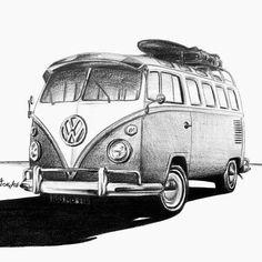 Eskiz | Karakalem | Sketch | Volkswagen Bus www.istanbulbecos.com…