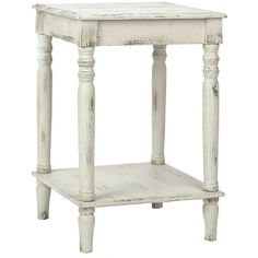 Distressed Cream Side Table (290 BRL) ❤ Liked On Polyvore Featuring Home,  Furniture