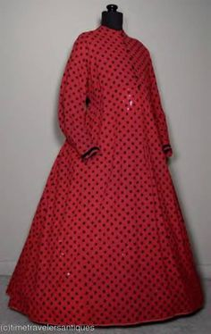 """1860s cherry red flannel with black """"dots"""" maternity(?) dress."""