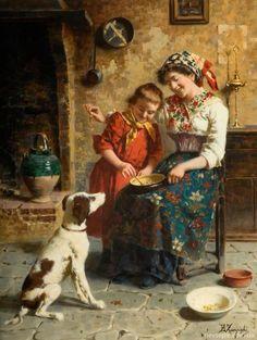 Italian artist Eugenio Zampighi (1859-1944) #Zampighi #family