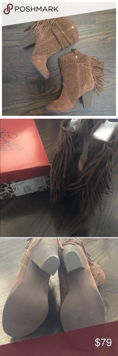 NIB Naughty Monkey Brown Suede Fringe Booties New in box. Brown suede fringe booties by Naughty Monkey. Pull on style. 3.5 inch block heel. Size 7.5, true to size. naughty monkey Shoes Ankle Boots & Booties