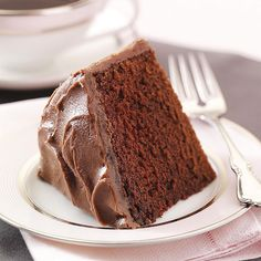 Old-Fashioned Fudge Cake Recipe -This simple one-layer cake has a nice texture, cuts well, is moist and the frosting is fast and easy to make. —Mary Schillinger, Woodstock, Georgia