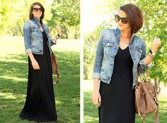 black maxi / denim jacket