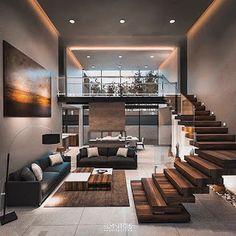 Home Stairs Design, Home Room Design, Small House Design, Dream Home Design, Modern House Design, Home Interior Design, Living Room Designs, Design Kitchen, Exterior Design