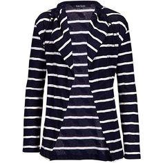 Betty Barclay Stripe Textured Cotton Cardigan, Dark Blue/Cream ($50) ❤ liked on Polyvore
