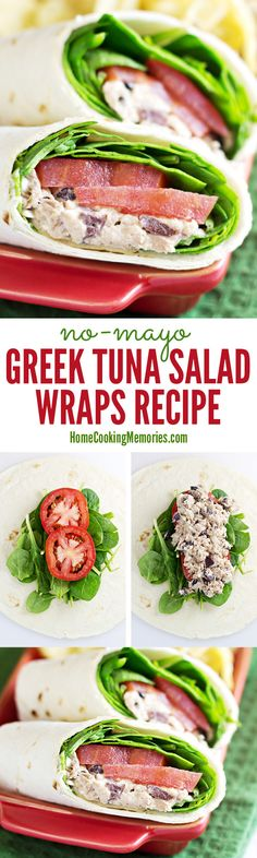 This no-mayo Greek Tuna Salad Wrap recipe is a quick & easy lunch idea. It features canned tuna, Greek yogurt, kalamata olives & feta cheese rolled up in a tortilla or wrap with fresh tomato slices and baby spinach leaves.