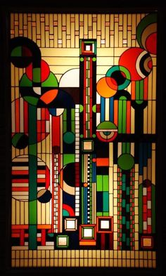 Art Deco. Stained Glass by Frank Lloyd Wright.