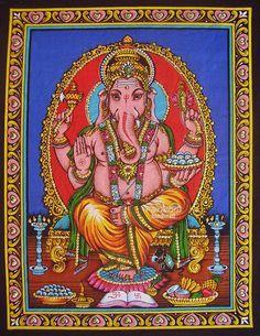 Indian hindu elephant god ganesh ganesha sequin coton fabric religious painting wall hanging tapestry ethnic decor art India orange 17x22