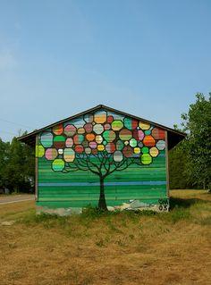 barnstormers cameron nc garden mural garden art Shed Mural Ideas Outdoor Art, Outdoor Walls, Mural Art, Wall Murals, Painted Shed, Painted Fences, Art Public, Art Shed, School Murals