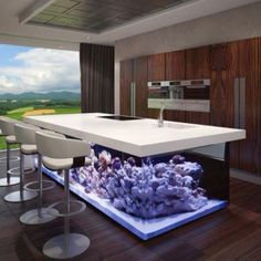 Nautical Theme For Modern Kitchen Layout With Aquarium Kitchen Island Nautical Theme Comes In A Variety Of Looks An Aquarium Built Into A Kitchen Island Is