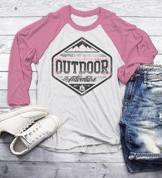 99119da4 Men's Outdoor Adventure T Shirt Mountains Camping Shirt Grunge Distressed  Shirts 3/4 Sleeve Raglan
