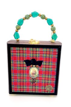 """The """"Little St. Cigar Box Crafts, Cigar Box Purse, Altered Cigar Boxes, Brass Hinges, Plaid Fabric, Vintage Santas, Gold Beads, Black Velvet, Green And Gold"""
