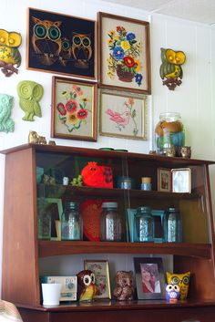 Love this vintage cabinet! but it's so over the top with the owls and the 70's theme :)