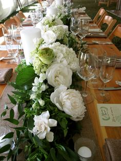 floral table runner, Vermont wedding flowers, Floral Artistry #floraltablerunner Farm-style table from Vermont Tent Co.