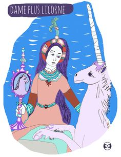 Dame plus Licorne Limited Digital Prints Edition 2015 Serie {Lion plus Licorne} by Eva Mirror Illustrations