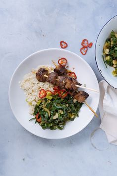 Give your Valentines an Asian twist with our healthy steak skewers with pak choi salad & cauliflower rice | Beef Recipe | gluten-free, dairy free, no refined carbs | Easy prep | We deliver all the pre-portioned ingredients needed to make our dinners in under 30 minutes