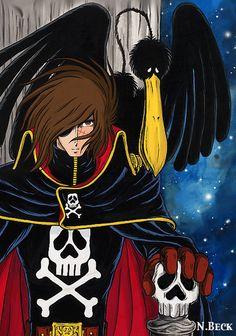 Captain Harlock - King of Arcadia Manga Girl, Manga Anime, Space Pirate Captain Harlock, Captain My Captain, Japanese Cartoon, Comic Games, Classic Cartoons, Animated Cartoons, Anime Comics