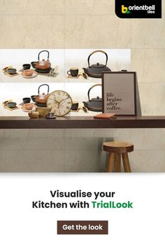 Transform your simple kitchen into a lavish and most loved space with these modern kitchen tiles. Check how these gorgeous designs will look in your current kitchen with the Trialook tool in the link below. See the tile in your space with the Trialook visualiser tool. #homedecor #kitchen #tiles #kitchendecor #decorideas #kitchentileideas