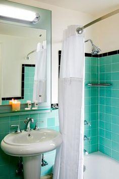 Lavish Art Deco Bathroom Luxurious Idea : Charming Green Art Deco Bathroom Modern White Curtain Elegant Washbasin