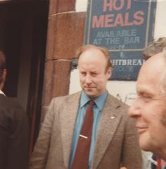 John Tyndall, then leader of the National Front, outside the pub RV point during the Moss Side By Election. May 1978.