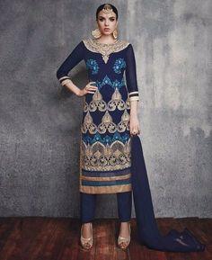 Buy Pleasing Prussian Blue Straight Cut Salwar Kameez online at  https://www.a1designerwear.com/pleasing-prussian-blue-straight-cut-salwar-kameez  Price: $34.23 USD