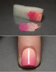 Pretty Ombre Nails  When I saw this super pretty and easy tutorial for ombre nails, I just knew I had to share it! All you need is your two favorite nail polish shades and a sponge and you're ready to go!