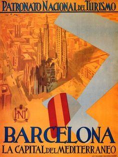 Barcelona Mediterranean Capital Travel Poster by Retro Graphics Barcelona Tours, Barcelona Travel, Barcelona Spain, Barcelona City, Paris Poster, A4 Poster, Poster Wall, Travel And Tourism, Spain Travel