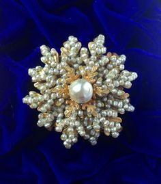 Stunning Vintage Miriam Haskell Signed Baroque Faux Pearl Brooch #MiriamHaskell
