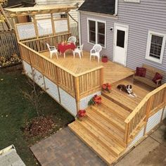 The pergola kits are the easiest and quickest way to build a garden pergola. There are lots of do it yourself pergola kits available to you so that anyone could easily put them together to construct a new structure at their backyard. Cool Deck, Diy Deck, Patio Deck Designs, Patio Design, Small Deck Designs, Small Decks, Small Patio, Deck Building Plans, Cozy Backyard