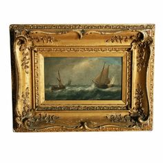 Oil Painting on Board Signed John Wilson   A oil painting on wood board of a sea scene with a pencil signature on the back 'John Wilson 1830'.  The painting is in the style of John Wilson Carmichael and similar to other paintings he has signed.  The painting is in its original gilt wood and gesso frame and is in original unrestored condition.  The back of the painting has other pencil writing that is indistinct. (Circa 1830)  Height 29cm (11.4 inches) Width 38cm (15 inches) Depth 5cm (2 inches)  Oil Paint On Wood, Painting On Wood, Painted Boards, Painted Signs, John Wilson, Pencil Writing, European Paintings, Objet D'art, Online Painting
