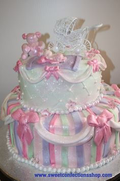 Soft and Pretty Baby Shower Cake.  Butter Cream with Fondant Detail work. Bows and Bears.