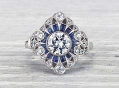 Carat Diamond and Sapphire Edwardian Engagement Ring. Stunning piece of craftsmanship! Antique Rings, Antique Jewelry, Vintage Jewelry, Art Deco Diamond, Diamond Jewelry, Jewelry Rings, Diamond Pendant, Diamond Rings, Fine Jewelry