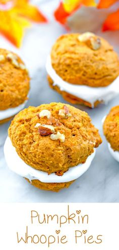 Pumpkin Whoopie Pies -- Sweet and tangy marshmallow cream sandwiched between light and fluffy pumpkin cookies. These Pumpkin Whoopie Pies are the perfect fall dessert! Pumpkin Whoopie Pies, Pumpkin Cookies, Pumpkin Dessert, Pumpkin Cheesecake, Fall Dessert Recipes, Fall Desserts, Fall Recipes, Sweet Recipes, Potluck Recipes
