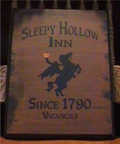 Primitive Sleepy Hollow Inn Sign Folk Art Primitives Witch halloween Signs Headless Horseman Props Colonial Horses decorations $23