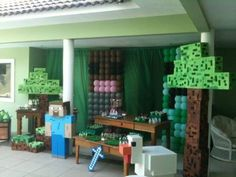 como decorar festa minecraft