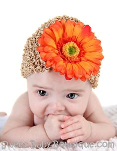 Orange Daisy on Khaki Crochet Baby Hat