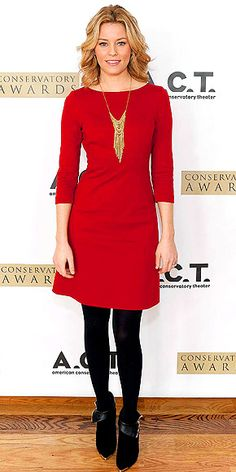 Red black dress with statement necklace