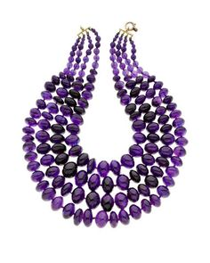 A multi-strand amethyst bead necklace