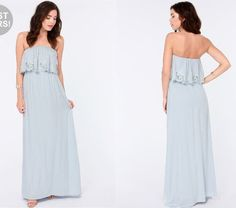 Beautiful strapless light blue maxi dress for summer 2014 by Lulu's. This carefree flowing strapless maxi has a stretchy elastic band at the neckline, as well as an elasticized waistband hidden by a ruffly tier that's trimmed in lovely embroidered cutouts.
