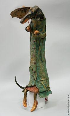 Коллекционные куклы ручной работы. Ярмарка Мастеров - ручная работа Такса под зонтиком. Handmade.